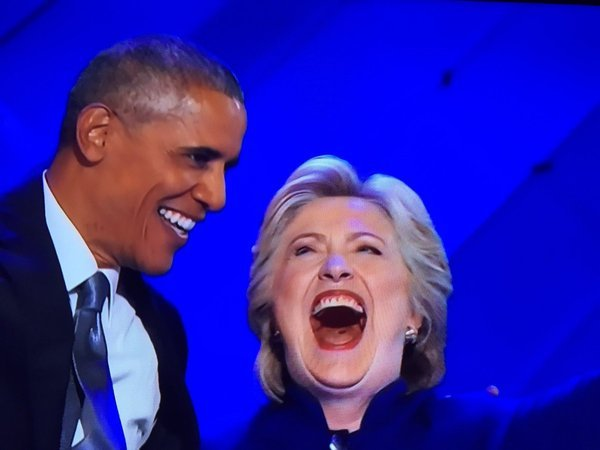obama and hillary laughing